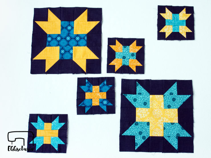 EGGsclusiv: Patchwork 6Köpfe12Blöcke 2019 April Block Star Plus