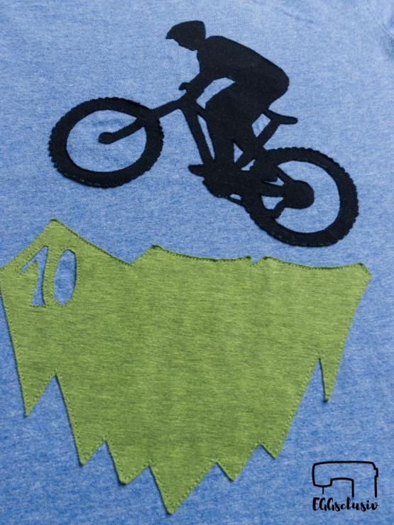 EGGsclusiv: Geburtstagsshirt mit Mountainbike Applikation zum 10. Geburtstag