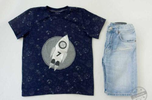 EGGsclusiv: Basic-T-Shirt nähen, Schnittmuster Klimperklein, Applikation RocketBoy - enemenmeins Freebie