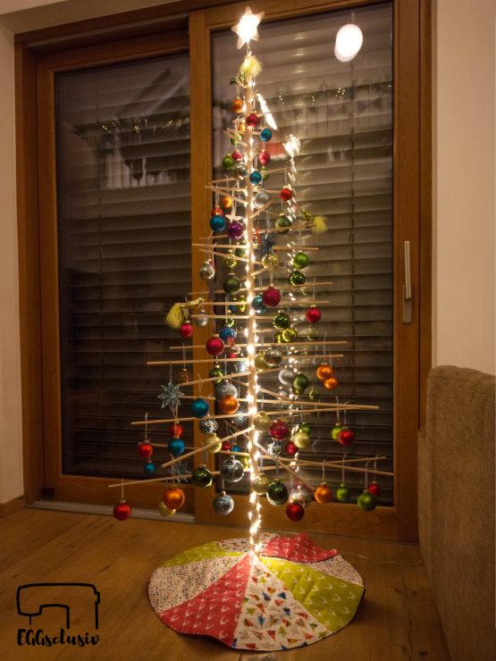 EGGsclusiv: Baumdecke nähen, Patchworkdecke, Holzweihnachtsbaum