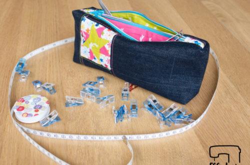 EGGsclusiv: Doppel-Reißverschluss-Täschchen nähen, Freebook von weisnähschen mit Patchwork Herz und Stern