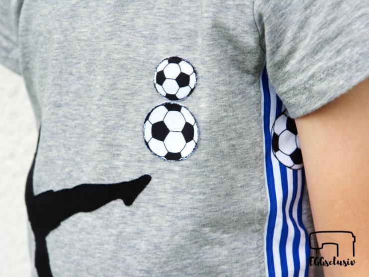 EGGsclusiv: Geburtstags-Shirt nähen mit einer Fußball Applikation, Schnittmuster Freebook Immergrün von Firlefanz