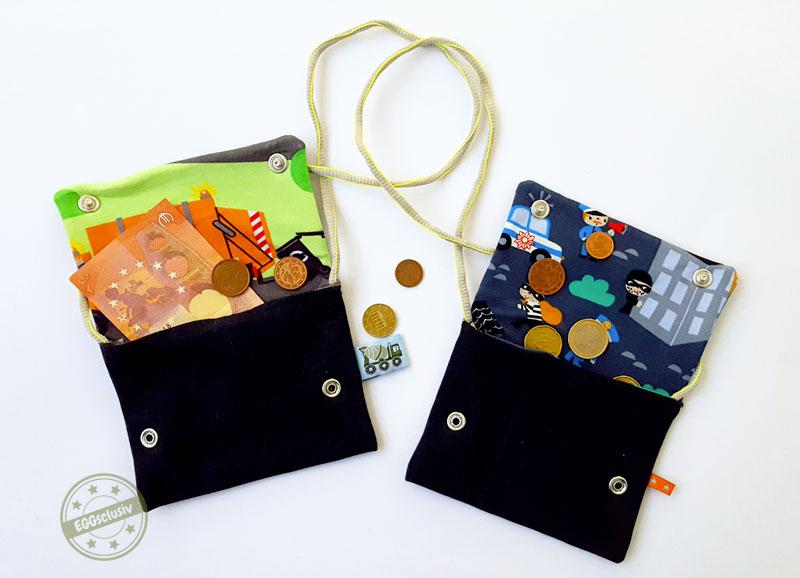 EGGsclusiv: Geldbeutel für Kinder nähen und Jerseyreste verwerten.
