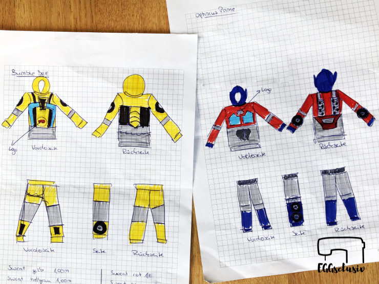 EGGsclusiv: Karneval Kostüme nähen Transformer Bumbleebee und Optimus Prime
