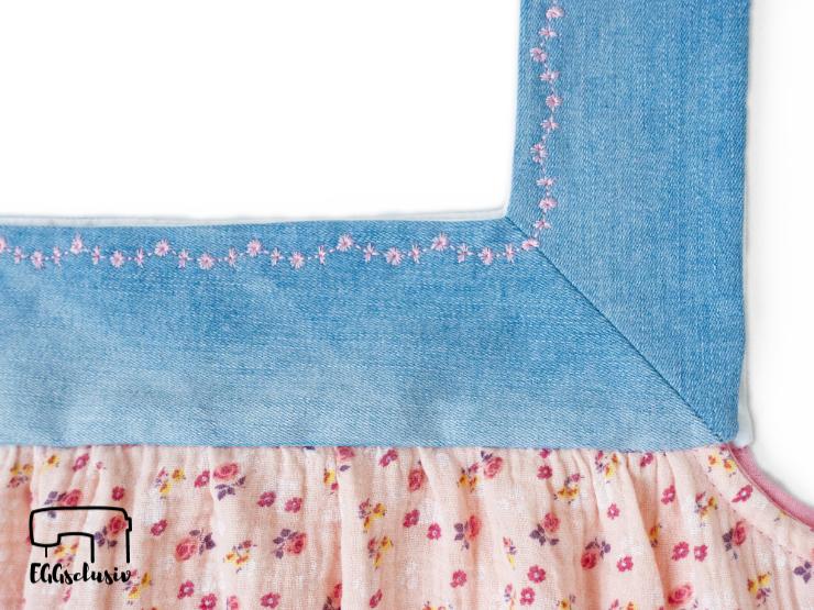 EGGsclusiv: Mädesüß Damen von Firlefanz aus Jeans-Upcycling und Musselin, Detail