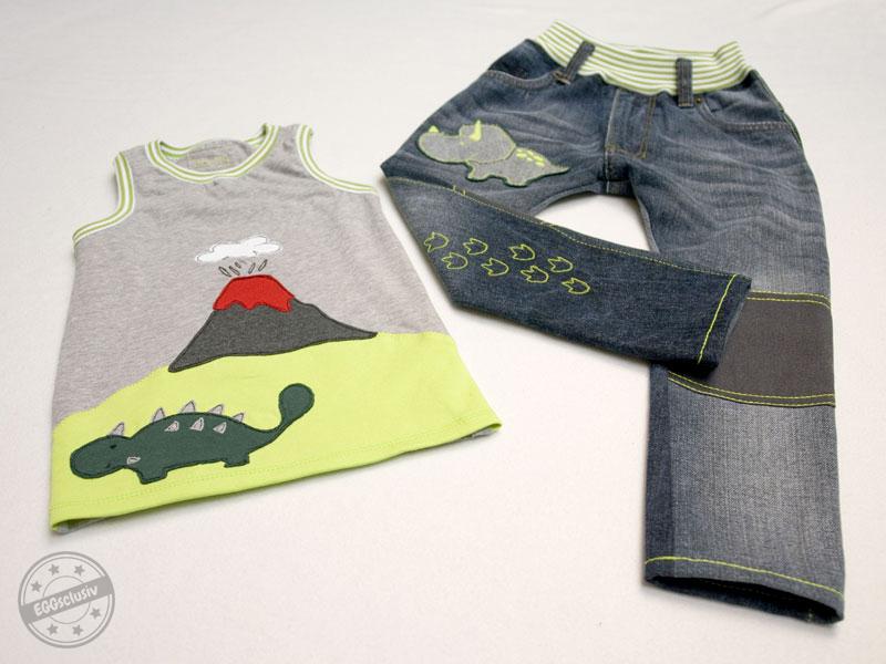 """EGGsclusiv: Jeans und Shirt nähen, Schnittmuster Denim Luck*ees - NipNaps, MiniSun - Aefflyns to Go, Applikation """"Welt der Dinosaurier"""" - Oberschätzchen"""