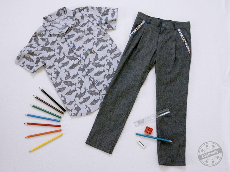 EGGsclusiv: ottobre Safari Raglanhemd und Smart Boy Chino Hose nähen als Einschulungsoutfit mit Hai