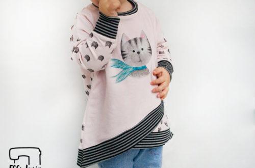 EGGsclusiv: Oversize Pullover nähen, Shabby Asymmetrie Hoodie - Mitosa Kreativ Design, Stoffpanel Katze, rosa, Ringelbündchen