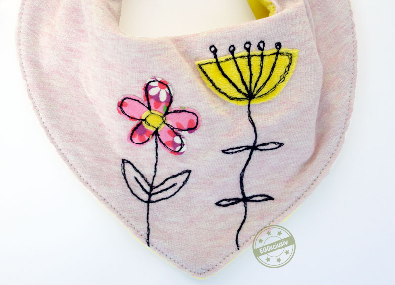 EGGsclusiv: Halstuch nähen Baby, Applikation Blumen Nähmalen