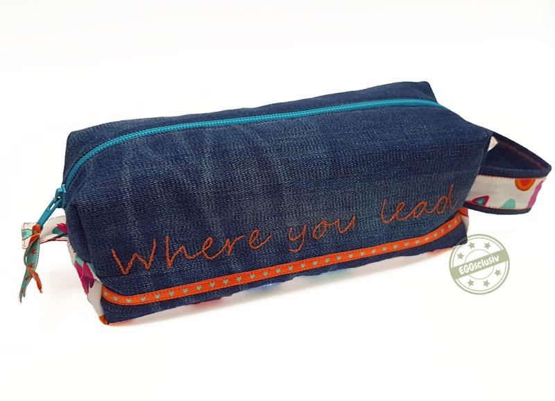 EGGsclusiv: Tasche für Strickzeug und Kosmetik - Machwerk nähen mit Gilmore Girls Schriftzug