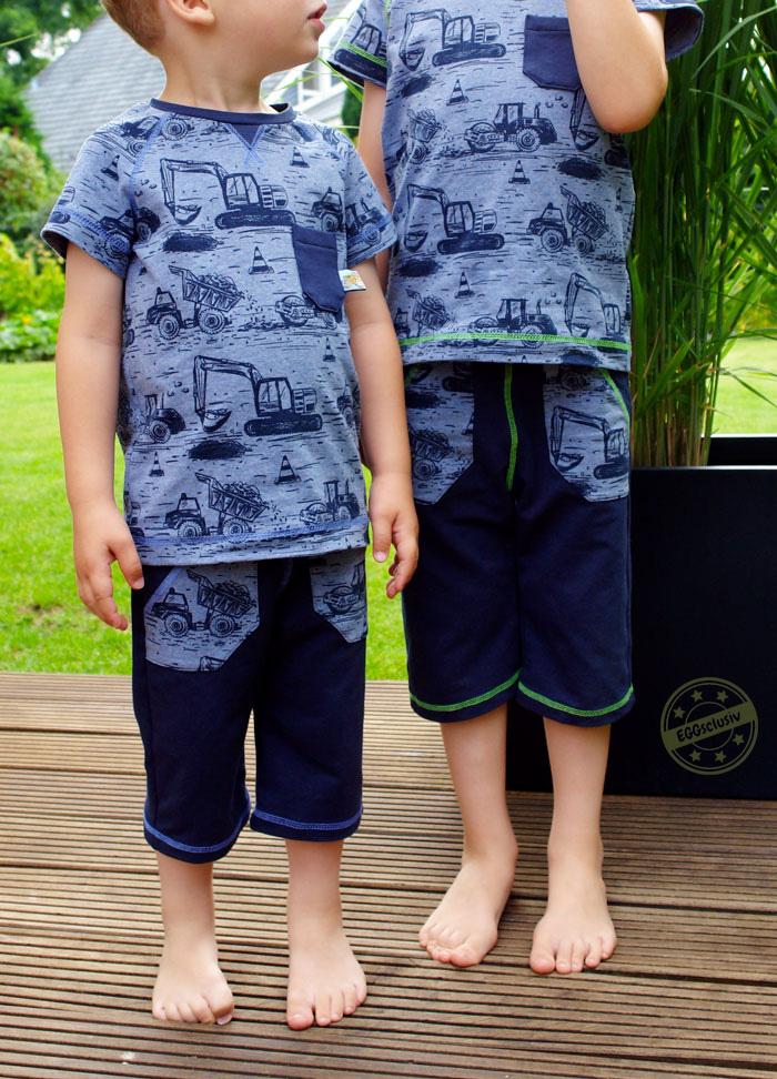 EGGsclusiv: kurze Hose und Raglanshirt nach Schnitten von Klimperklein nähen für Jungs aus Lillestoff Baustelle