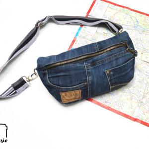 #machdeinding2019 Bauchtasche nach dem Freebook von der Initiative Handarbeit und Cherrypicking nähen als Jeans-Upcycling